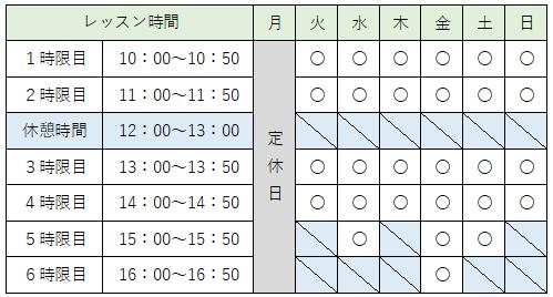 ヴィーナスパソコン教室時間割表